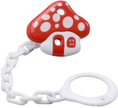 Baby Soother / Dummy /  Holder Clip With Chain - Agaric