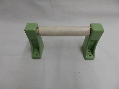 Vintage Jadeite Green Porcelain Toilet Paper Holder White Wood Roller 4696-15