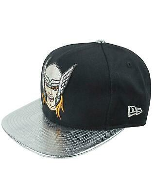 MARVEL COMICS THE MIGHTY THOR TEXT SYMBOL BLUE SNAPBACK CAP WITH PRINTED VISOR
