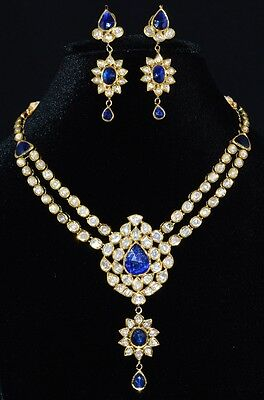 Estate Sapphire Diamond Enamel 22K 22C 18K Gold Necklace Chandelier Earrings Set
