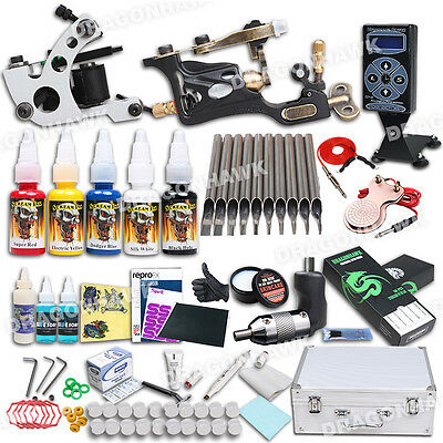 Professional Complete Tattoo Kit 2 Top Machine Gun 5 Inks 50 Needle Power Supply