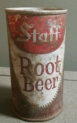 Vintage  1950's Staff Rootbeer Can Staff Supermarkets Tin Can Pull Tab