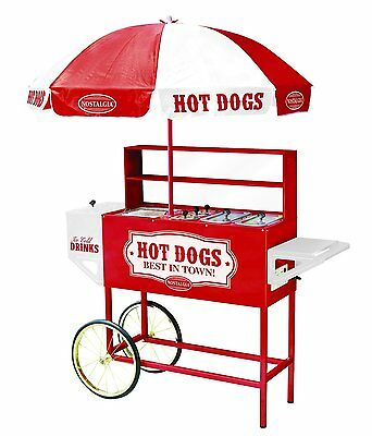 Nostalgia Electrics HDC701 Vintage Collection Commercial Hot Dog Cart & Umbrella