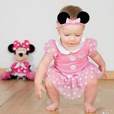 Girls Baby Toddler Pink Disney Minnie Mouse Fancy Dress Costume Outfit Bodysuit