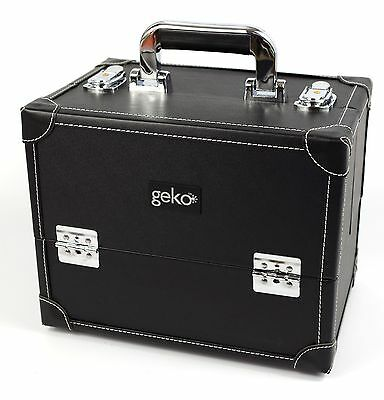 Professional Vanity Cosmetic Case Makeup Beauty Storage Box Black Faux Leather