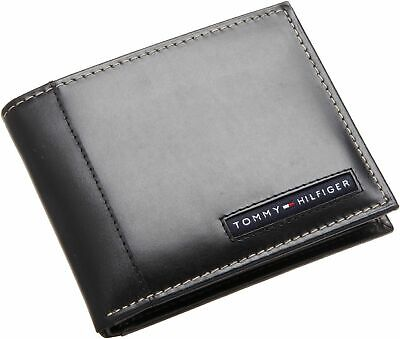 New Tommy Hilfiger Cambridge Black Leather Credit Card Billfold Men's Wallet