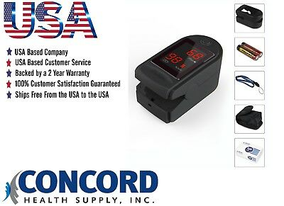 Concord Basics Fingertip Pulse Oximeter with Free Case, Lanyard and Batteries