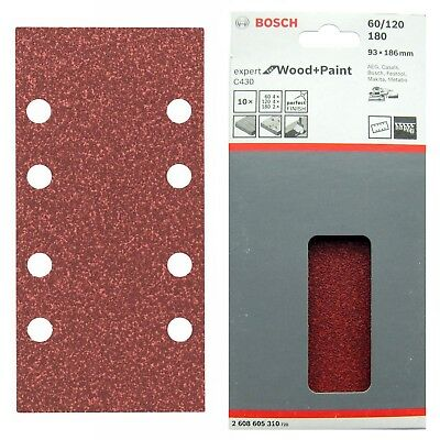 10 Bosch 93x186 mm WOOD+PAINT 8 Hole Sanding Sheets Mixed Grit 2608605310