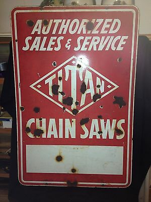 "Rare 1930's 36"" Double Sided Titan Chain Saw Porcelain Sign"