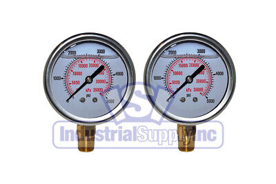 "2-Pk 0-5000 psi 2.5"" Hydraulic-Air-Water Pressure Gauge"