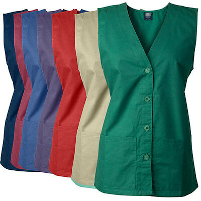 MedGear Women's Vest, Button Front with Back Ties, 2 Pockets, Work Uniform #112