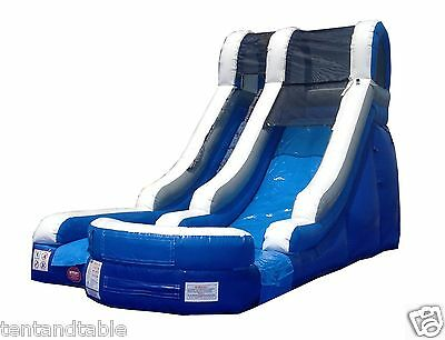 Commercial Inflatable Blue 15' Water Slide Wet Slides Moonwalk Bounce House Jump