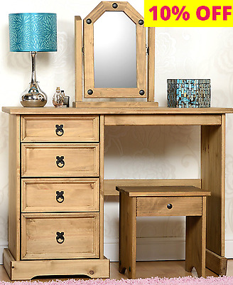 CORONA Distressed Waxed Pine Wooden DRESSING Table, Stool and Mirror SET