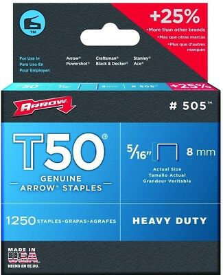 Arrow T50 Staples Box 1250 8mm 5/16in