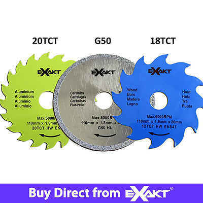 Exakt DC Saw Blade Triple Pack | 1 x 18TCT, 1 x 20TCT & 1 x G50 | Woods & Tiles