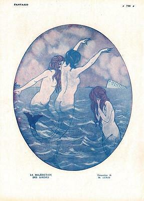 1916 ORIGINAL FRENCH WW1 PRINT  Mermaids / Curse of the Sirens by Leroy F4614