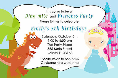30 Prince Princess Invitation Cards Kids Birthday Party