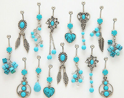 B#256 - 10pc Turquoise Mix Dangle Belly Rings Navel naval wholesale