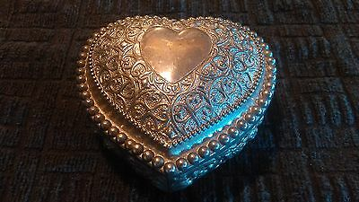 Vintage Silver Plated Heart Shaped Trinket Box with Purple Velvet Lining - Used