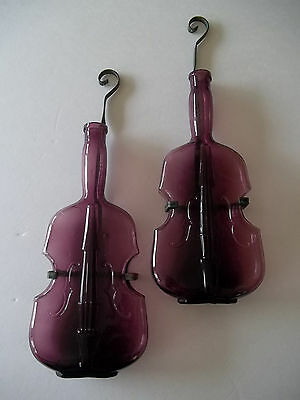"Set 2 Amethyst Figural Violin Bottle  10"" Tall W/ Wall Brackets As-Is"