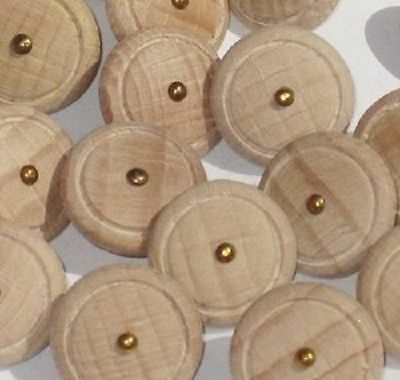 Lot 21 Fancy WOOD Wooden Set vtg new Buttons with SHANK Incised and BRASS Spot