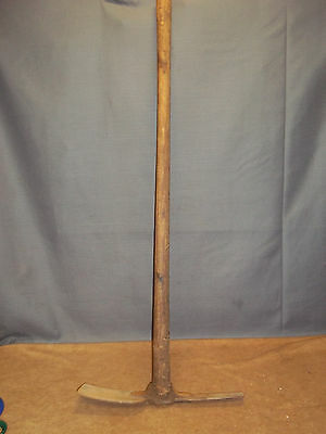 Vintage Antique Primitive  Iron Pick Hoe garden farm tool mining