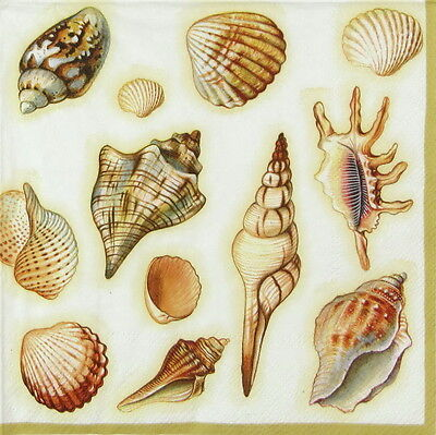 4x Paper Napkins for Decoupage Decopatch Craft Sea Shells