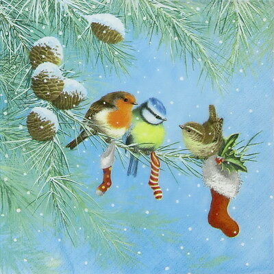 4x Single Table Party Paper Napkins for Decoupage Craft Three Birds on Branch