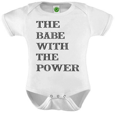 The Babe With The Power Onesie ORGANIC Cotton Romper Baby Shower Gift Funny Pres