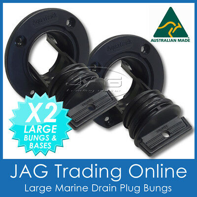 2 x LARGE BLACK COMPLETE DRAIN BUNG PLUGS BOAT/MARINE BUNGS COARSE THEAD