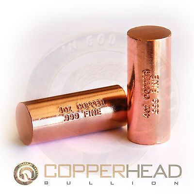 1 x 4oz Solid Copper Bullion Rod 1/4 Pound lb Nugget Shell Round Bar 5-8-16-20