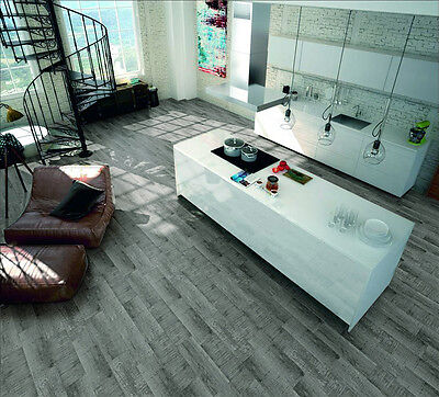 Ash Cement Fusion Wood Effect Wall and Floor Ceramic Tiles 20.5x61.5cm