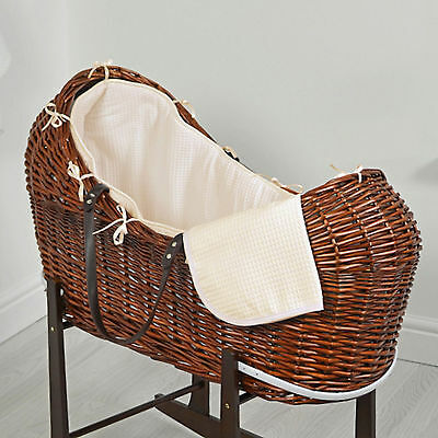 New 4Baby Cream Waffle Dark Wicker Baby Moses Basket / Snooze Pod With Mattress