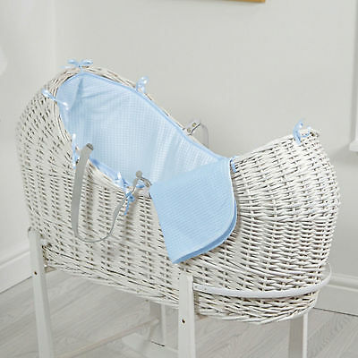 New 4Baby Blue Waffle White Wicker Baby Moses Basket / Snooze Pod With Mattress