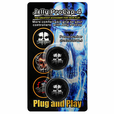 SKULL GHOST JELLY PROCAP FOR PS4 CONTROLLER GAMEPAD - Thumb Stick Grips PRO CAP
