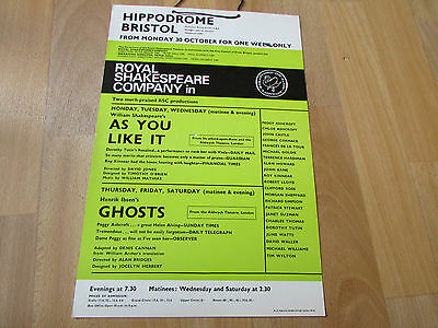 RSC  Ghosts & As You Like It Patrick STEWART  Hippodrome BRISTOL Original Poster