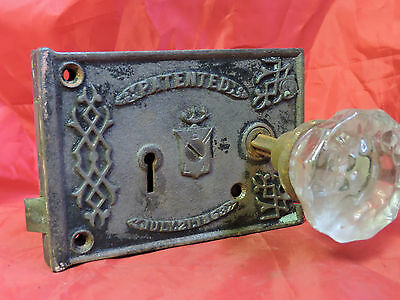 ANTIQUE CIVIL WAR ERA 1863 RIM LOCK DOOR KNOB SET LOCK BOX BLW BENNINGTON b