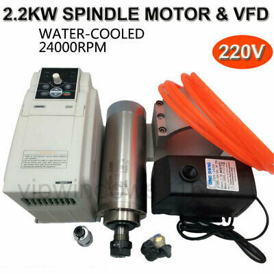 2.2KW ER20 Spindle Motor Water Cooled & 3.7KW VFD Inverter&Bracket&Pump/Pipe Kit