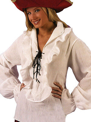 Adult Ladies Pirate Buccaneer Medieval Shirt Fancy Dress Costume Lace Up Ruffle