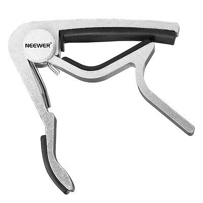 Silver Single-handed electric / acoustic 6-string Guitar Capo Tuner
