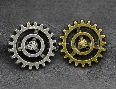 40pcs vintage gear cog steampunk grunge scrap booking card craft charms 17mm