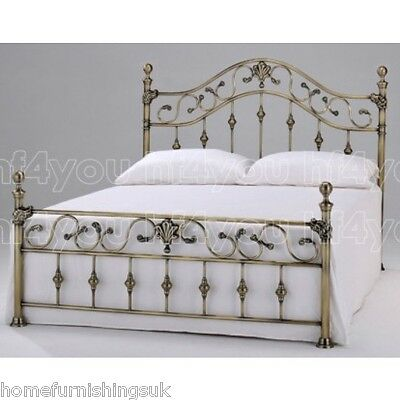 Harmony Beds Elizabeth Antique Brass Metal Bed Frame+Mattress 4FT6 Double/5FT