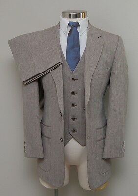 Vintage Mens 38S Johnny Carson 3 Piece Brown/White Wool Suit