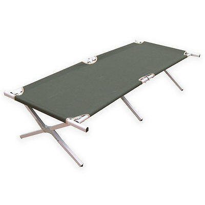 Aluminium Military Army Camping Folding Camp Bed Cot w/ Carry Bag Case Green NEW