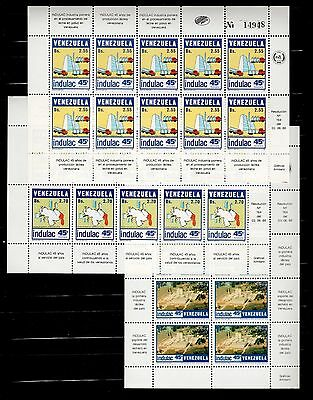 Venezuela Stamps 1986 45th INDULAC Milk Company Sc 1357/59 / 3 Sheets of 10 MNH