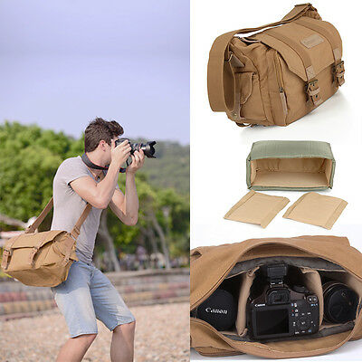 Canvas Khaki Shoulder Camera Bag Rucksack for Canon Nikon Sony Pentax DSLR SLR