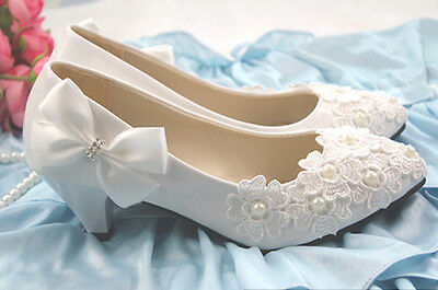 Glitter Pearl Bows Wedding Kitten Party Evening Shoes High Heel