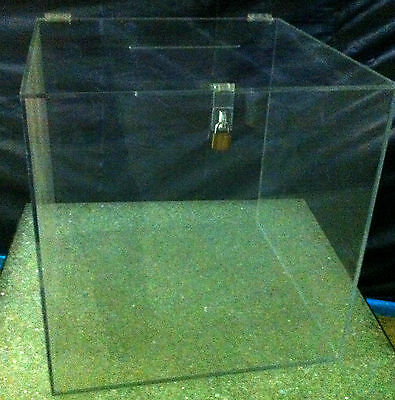 """Clear acrylic Ballot Box with hasp and key 8"""" cube lucite plexiglass"""