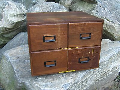 Antique 4 Drawer Oak File Box / Cabinet Postcard w/ Metal Tag WWII United States