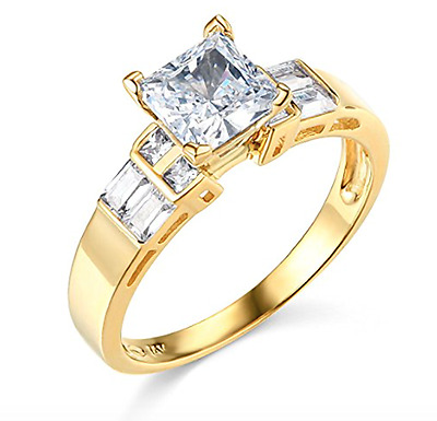 2.50 Ct Princess Baguette Cut Engagement Wedding Ring Real Solid 14K Yellow Gold